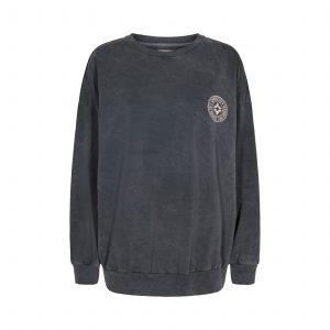 graues Sweatshirt mit Logo auf der Brust