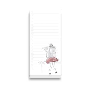 weisser Notizblock mit einer Zeichnung von einer Frau